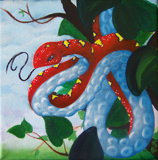 Tentacle Snake Acrylic Painting