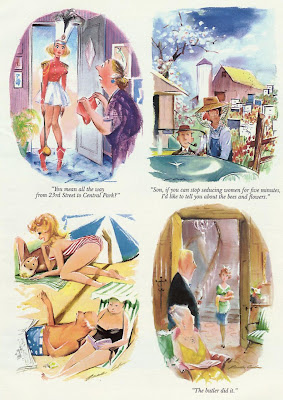 Sexy woman at beach, sexy drum majorette are shown in old Playboy cartoons