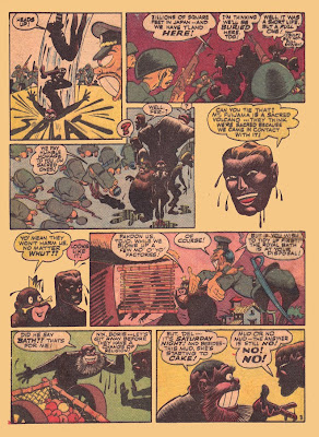 Great comic book drawings of characters covered in black mud are shown in this rare old comic book page