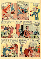 Plastic Man changes his face and disguises himself in this cartoon comic book page.