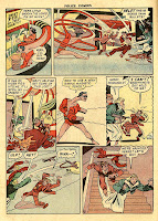 Cartoon character Plastic Man stretches his arms and chases crooks down stairs in a classic collector's comic book page from the golden age of comic books.