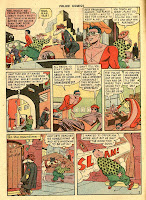 This vintage old golden age comic page by Alex Kotzky from 1948 shows Plastic Man and Woozy Winks walking around  a city.