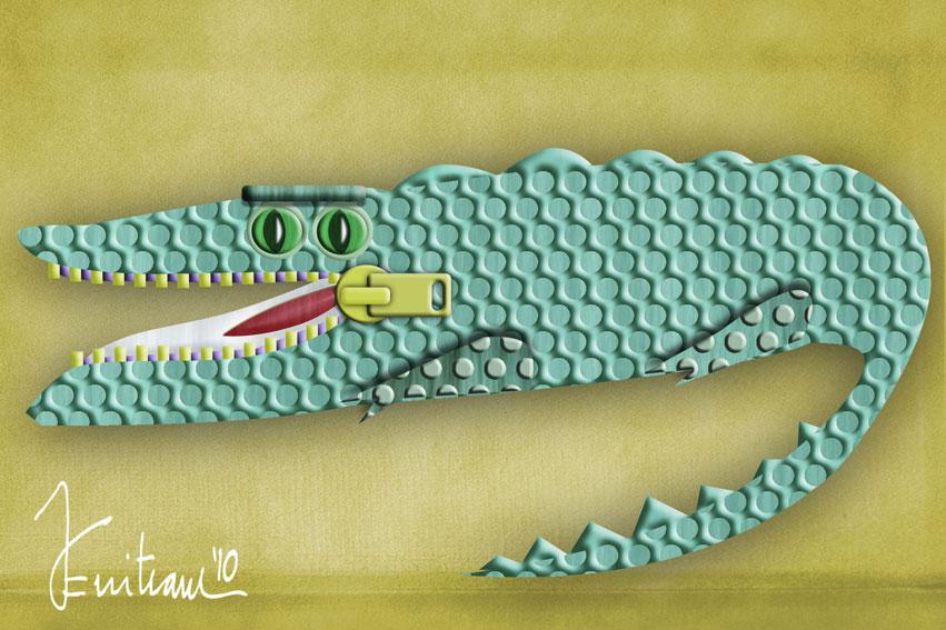 Dibujolandia: caricaturas y humor gráfico.: Cocodrilo a cremallera