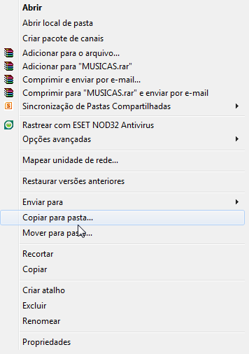 Item Copiar/Mover no menu do lado direito do Windows 7