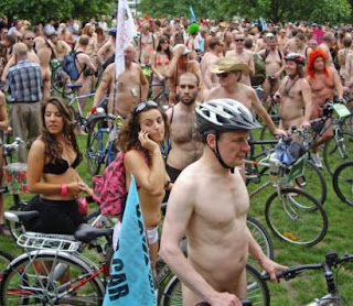 Cyclists from around the world bare all to promote bicycle safety.