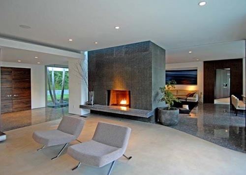 Modern House Cozy Fire Places Design Idea Interior
