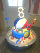 The beach ball is a white cake with vanilla buttercream and the bottom is .