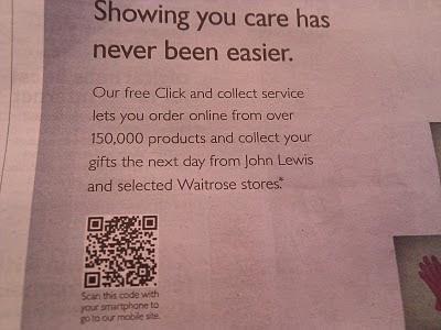 John Lewis Christmas newspaper ad QR code