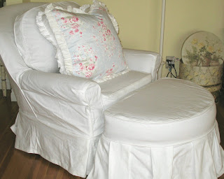 GORGEOUS WHITE SLIPCOVERED SOFA  OVERSIZED CHAIR/OTTOMAN BY