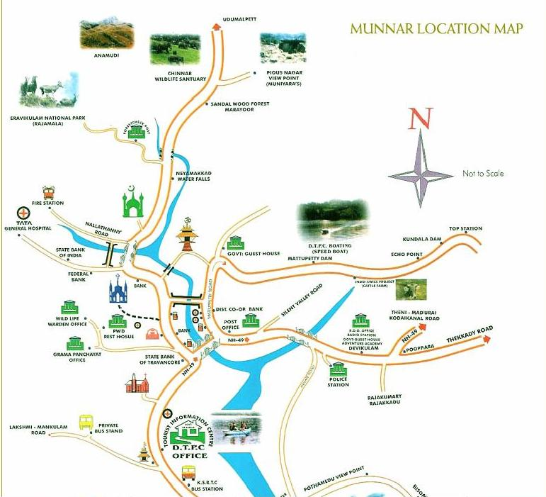 Munnar Map Munnnar Location MapMunnar Tourist MapCity Map of – Kerala Tourist Map