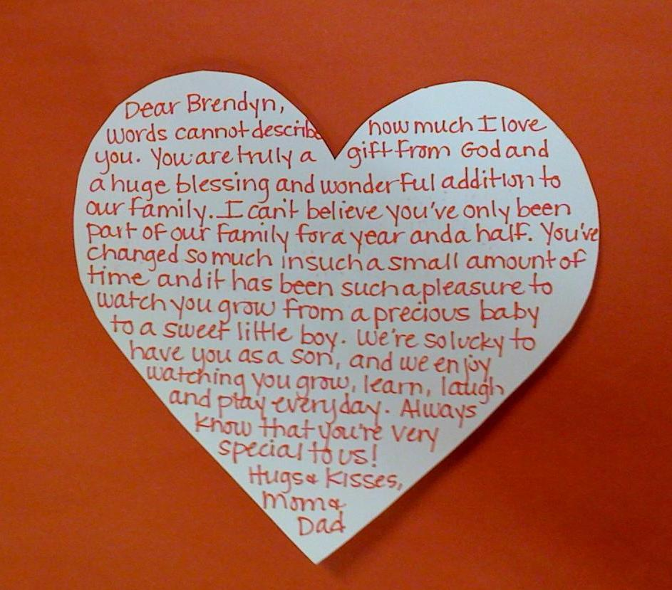 The Dufour Family Valentine Love Letter to B
