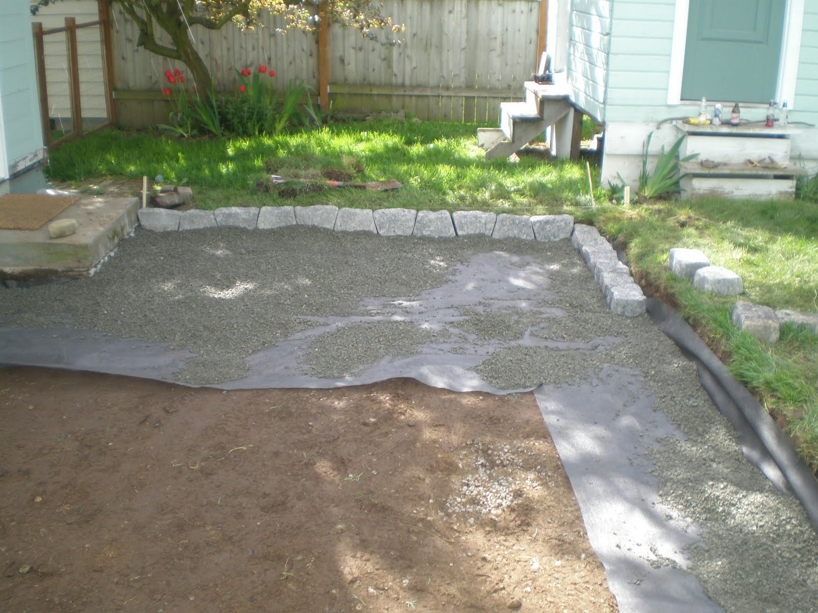 Backyard Mulch Patio :  were done excavating the area we laid down landscape cloth and gravel