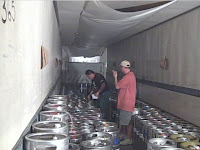 Kegs in the staging area