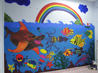 Mural pada bilik 2 3 tahun tema haiwan laut pusat for Mural hidupan laut