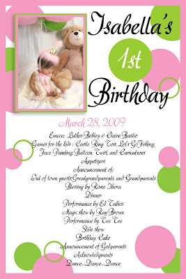 Isabella's 1st Birthday - Program