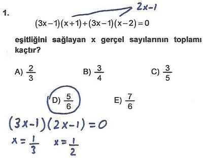 2010 lys matematik 1. soru ve çözümü