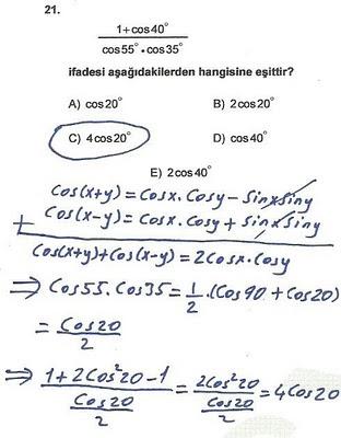 2010 lys matematik 21. soru ve çözümü