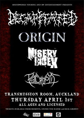 Decapitated, Origin, Misery Index and Psycroptic in Auckland 1/4/2010