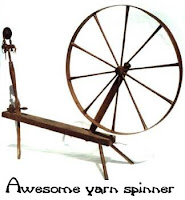 old fashioned spinning wheel with Awesome yarn spinner written underneath