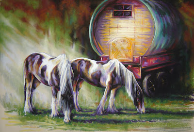 A gypsy caravan house with 2 horses