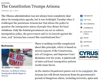 The New York Times on Arizona, the U.S. Justice Department, and Immigration