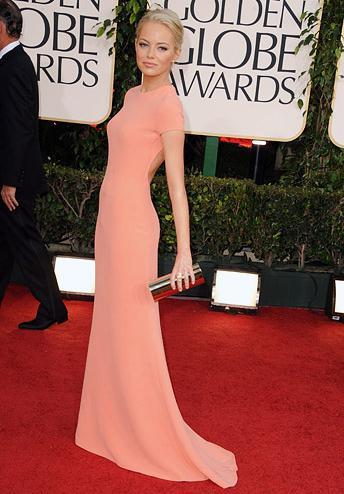 emma stone globes 2011. Easy A star Emma Stone wearing