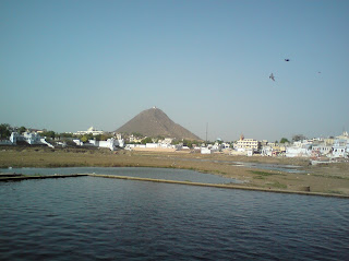 Temple of Goddess Savitri on the hill, as seen from the Pushkar Lake