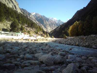 River Bhagarathi in the backdrop of the beautiful snow clad Himalayan peaks, Gangotri - Char Dham