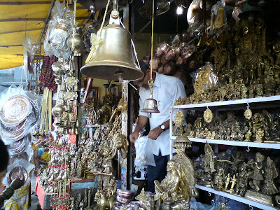 A shop selling bronze and brass idols outside the Kalaram  Temple, Panchvati - Nashik
