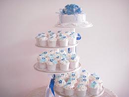 wedding cake & cupcakes tiers