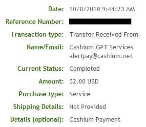 Pagamento Cashium - PTCs em Prática