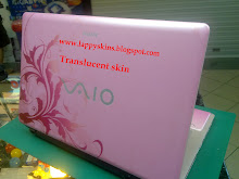 Translucent skin on pink laptop
