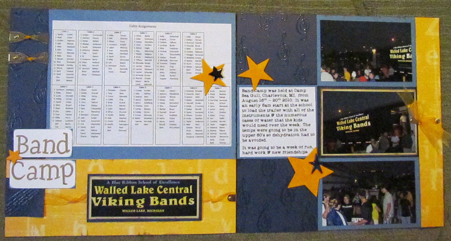 Scrapbook ideas high school - The Middle Photo On The Right Hand Page Opens And Is Tied Shut Using The Ribbon And Gold Photo Hangers