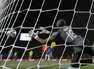 South African goalkeeper Khune makes a save against Brazil, FIFA Confederations Cup, 25.06.09