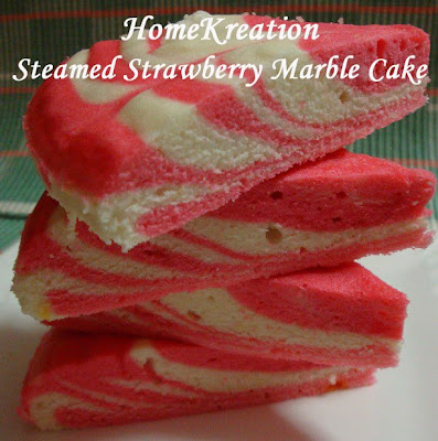 steamed strawberry marble cake