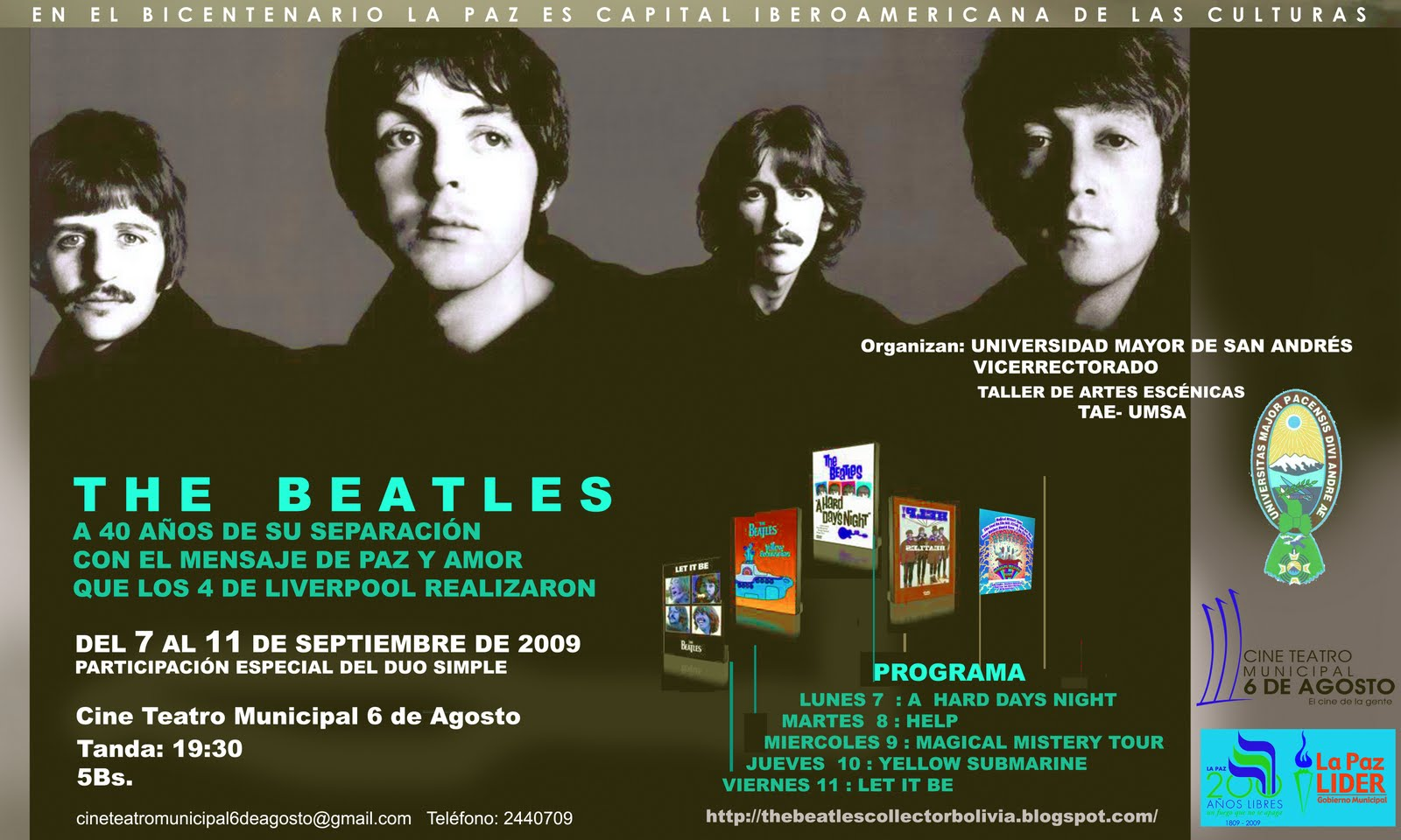 homenaje a los beatles en Bolivia no se lo pierdan