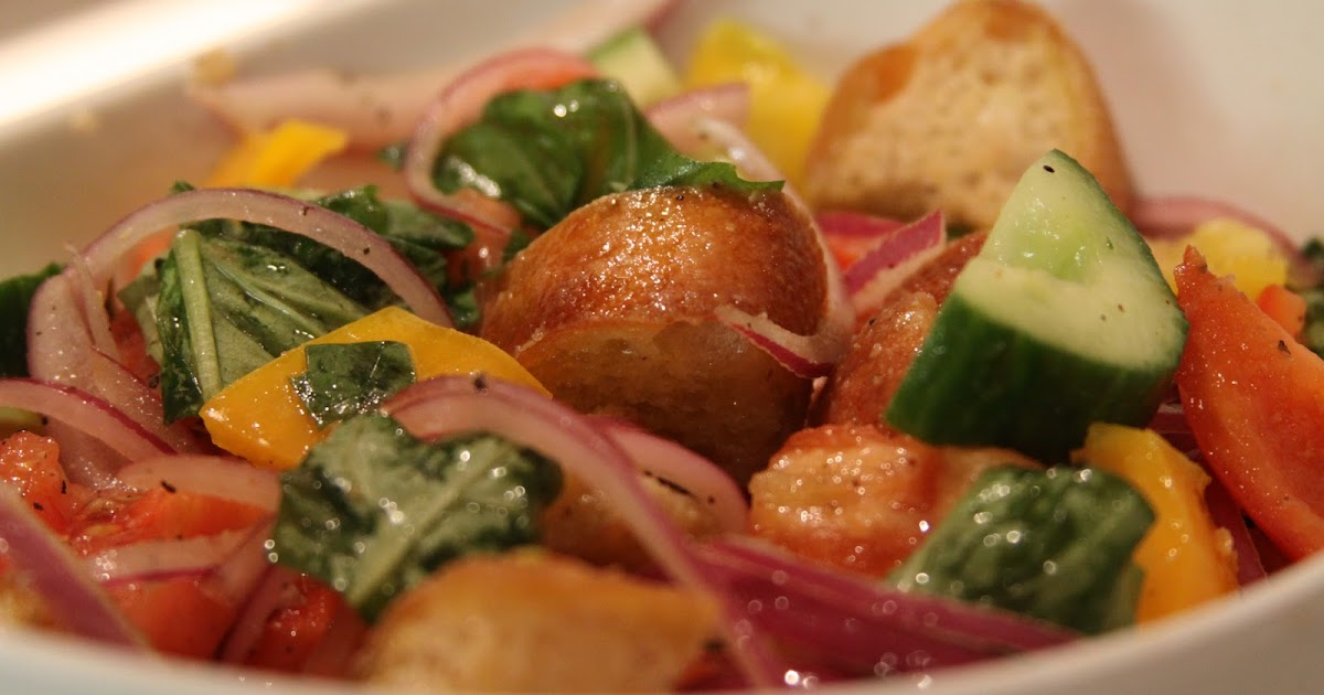 Panzanella with heirloom tomatoes, cucumber, and peppers ...