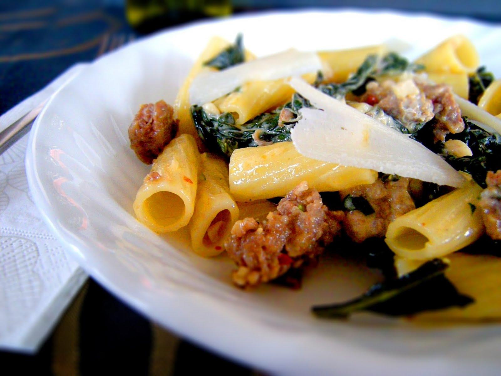 Crafty Lass: Pasta with Kale, Sausage & Cream