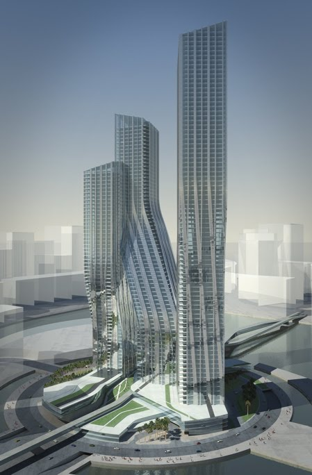 Dubai signature towers dancing towers by zaha hadid for Dubai architecture moderne