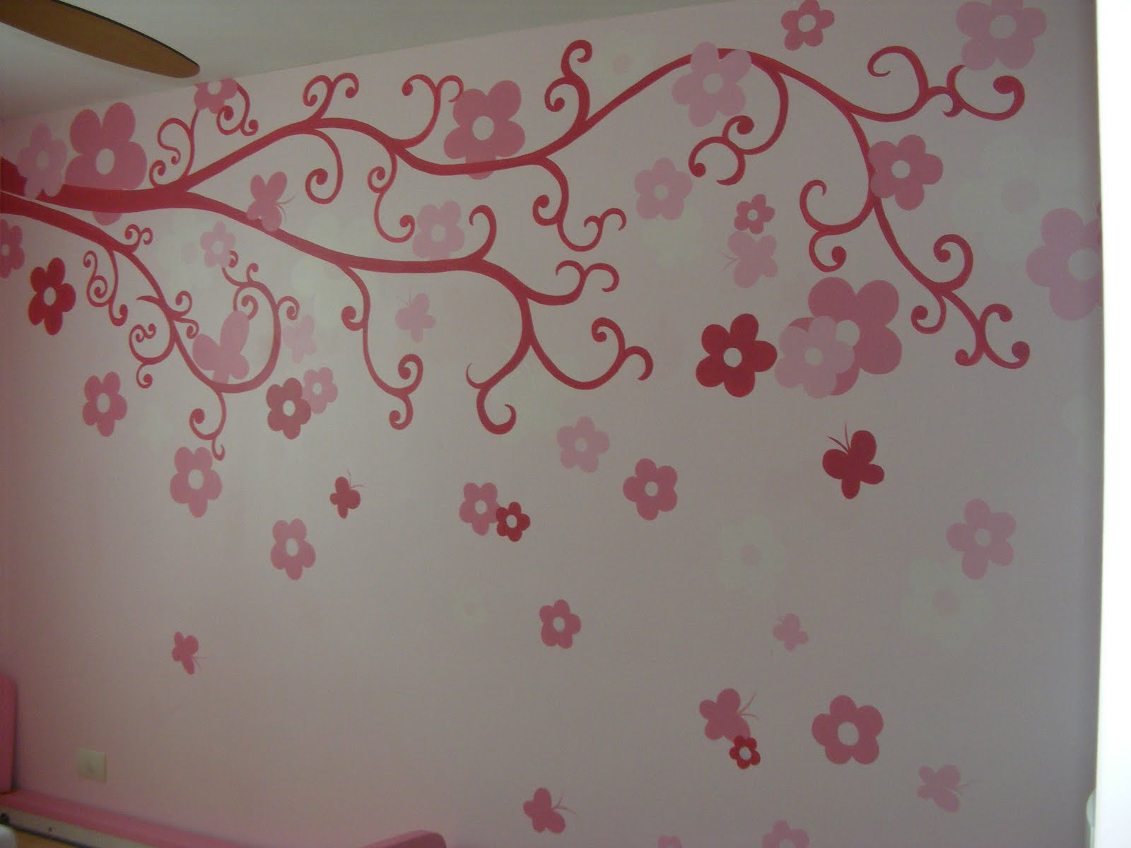 Murales infantiles flores y flores recamara de larissa for Como pintar un mural infantil