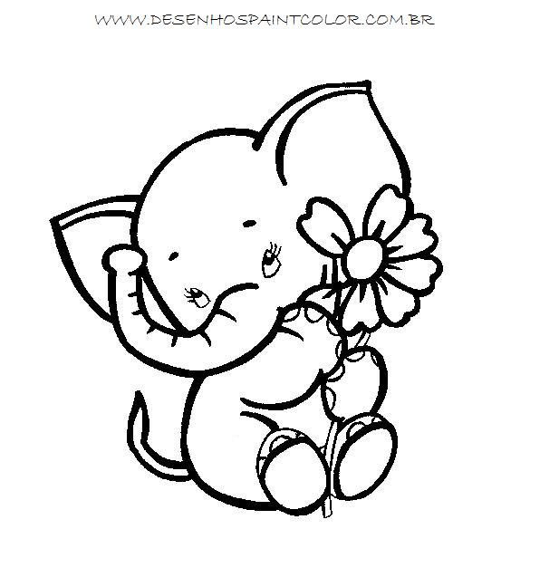 desenho de elefante com flores para colorir gr u00c1tis