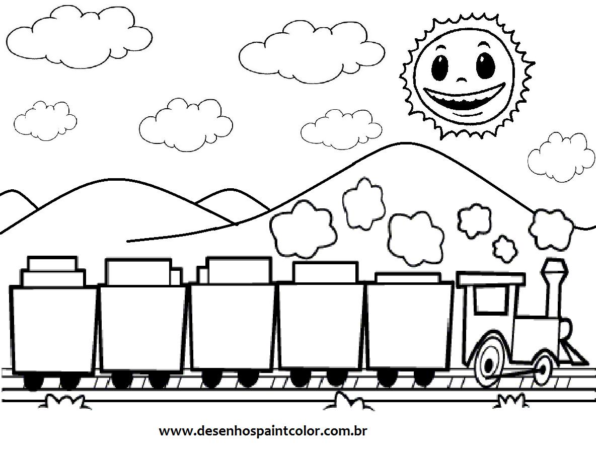 desenho tra u00c7o ou risco de trem para imprimir e colorir