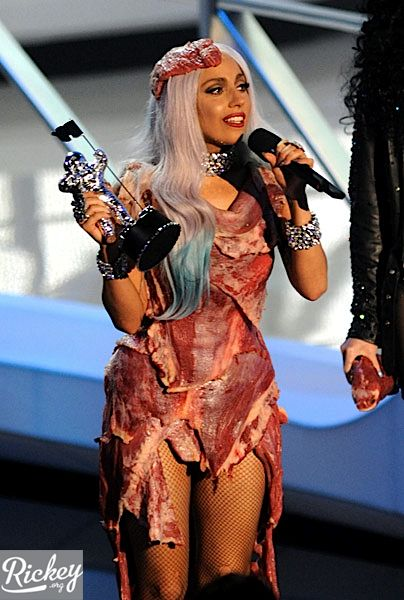 was lady gaga meat dress real. lady gaga meat dress