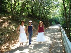Con Aury  y Bertha en Campo de Fiori