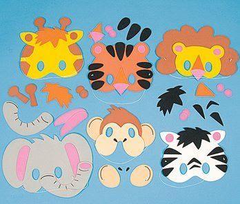 Máscaras de animais feitas em EVA