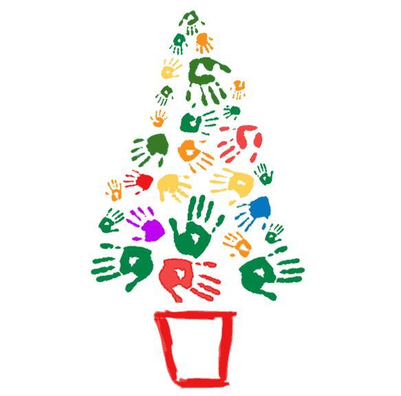 Rvore de natal com carimbo das m os e p s pra gente mi da for Arbol de navidad mural