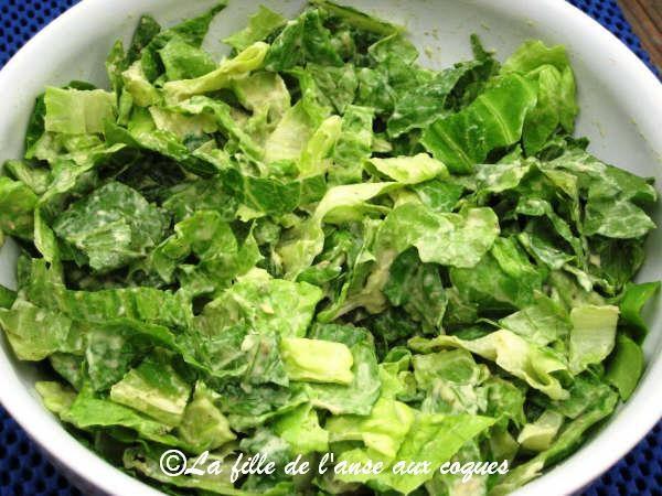 La fille de l 39 anse aux coques salade verte avec sauce l avocat - Salade verte calorie ...
