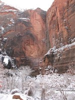 snow covered cliffs