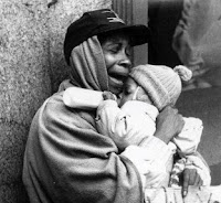 homeless baby and mother