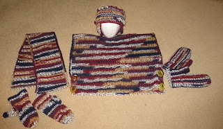 crocheted hat, scarf, mittens, and vest sets